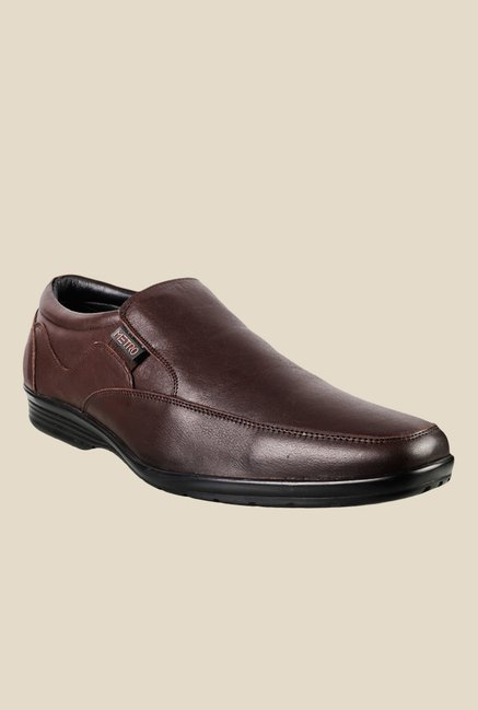 Metro Brown Formal Slip-Ons