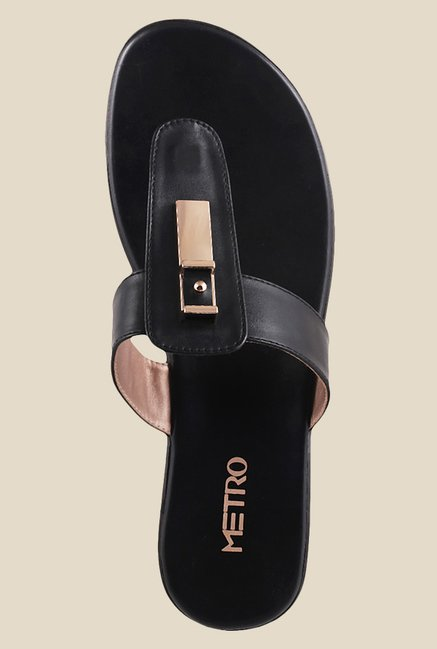 Metro Black T-Strap Wedges