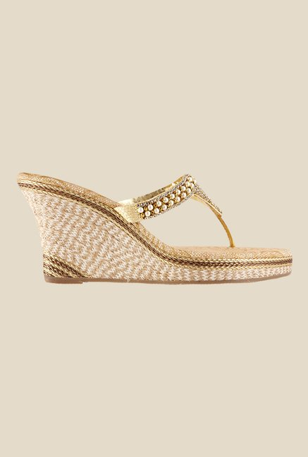 Metro Golden Wedge Heeled Thong Sandals