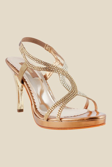 Princess by Metro Antique Gold Sling Back Stilettos