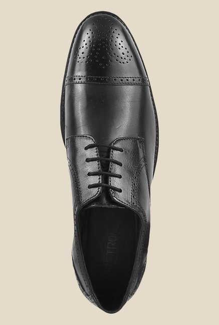 Metro Black Brogue Shoes