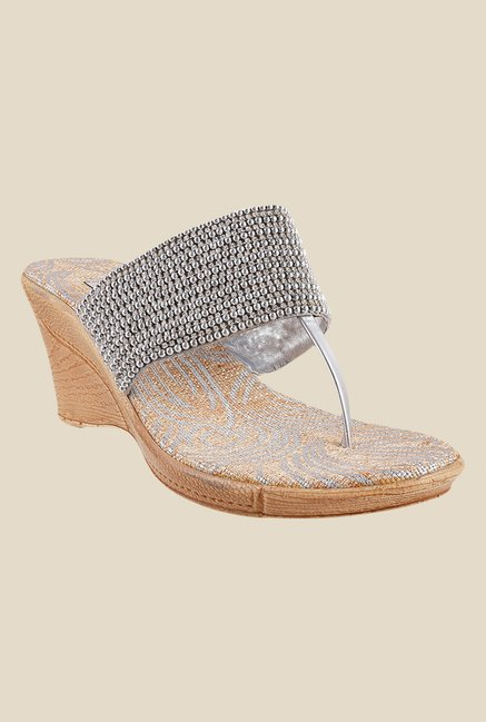 Metro Silver T-Strap Wedges