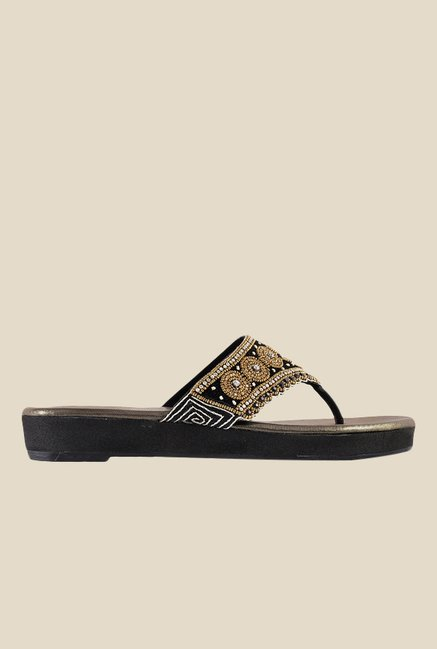 Metro Black & Golden Thong Sandals