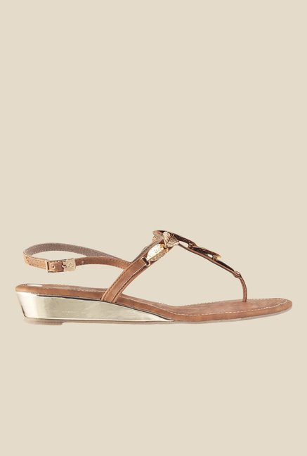 Metro Tan & Golden Back Strap Wedges