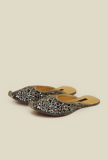 Metro Black Ethnic Slide Shoes