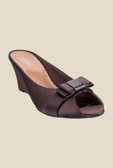 Metro Brown Wedge Heeled Sandals