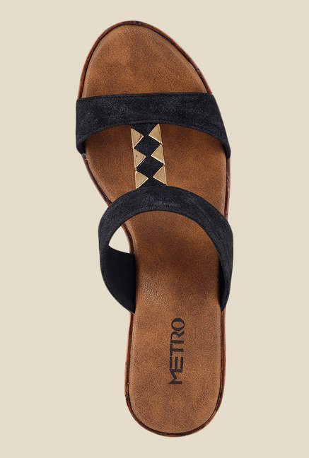 Metro Black & Golden Wedge Heeled Sandals