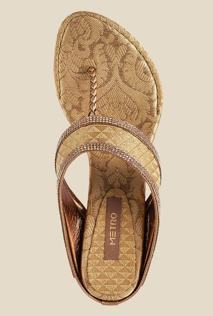 Metro Antique Gold T-Strap Sandals