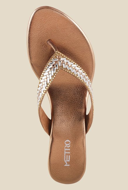 Metro Antique Gold & Silver Wedge Heeled Thong Sandals