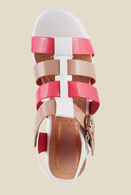 Metro Pink & Beige Ankle Strap Sandals