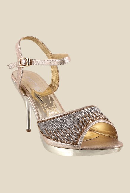 Metro Golden Ankle Strap Stilettos