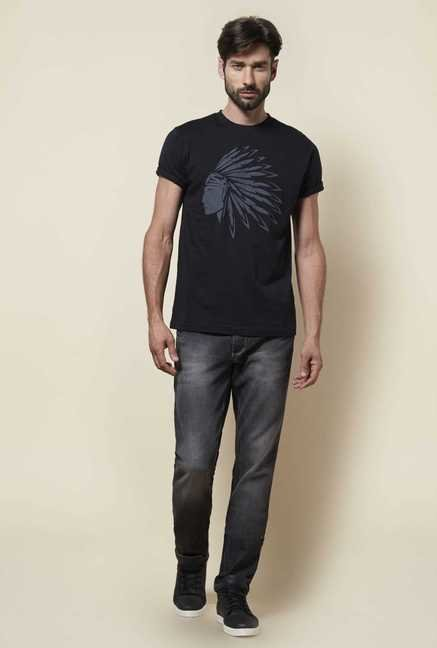Zudio Grey Slim Fit Trap Jeans