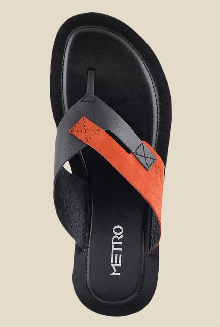 Metro Black & Red Thong Sandals
