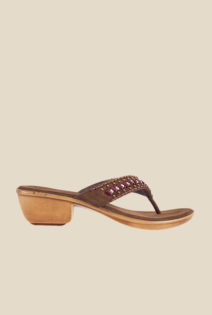 Metro Brown & Maroon Thong Sandals