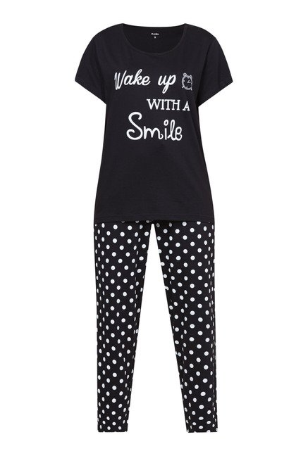 Zudio Black Printed Pyjama Set