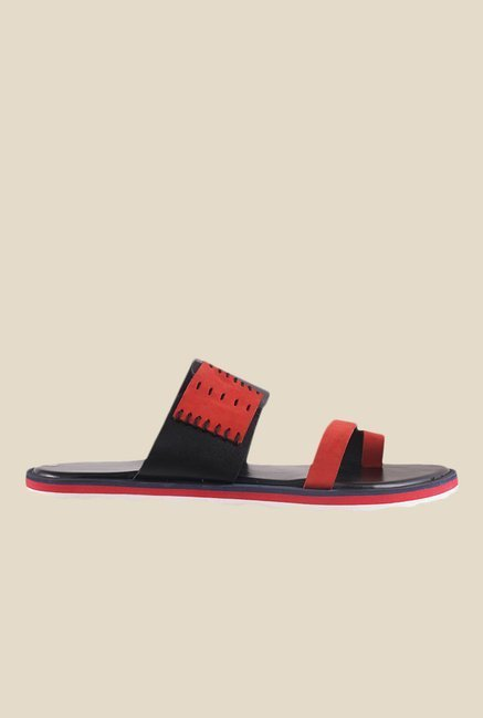 Metro Red & Black Toe Ring Sandals