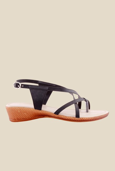 Kielz Black Back Strap Wedges