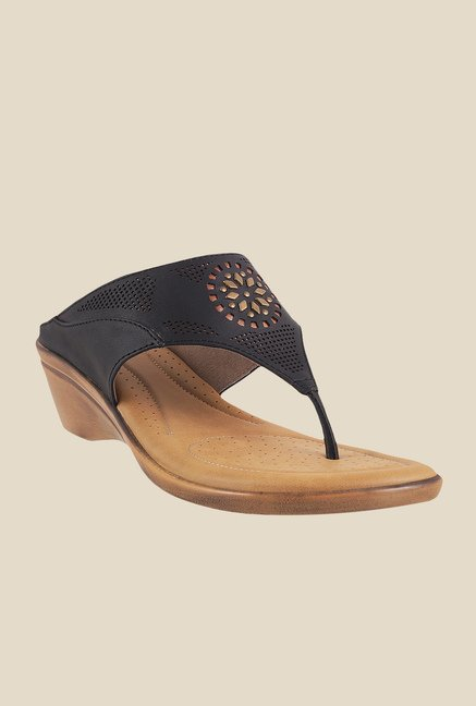 Metro Black Wedge Heeled Thong Sandals