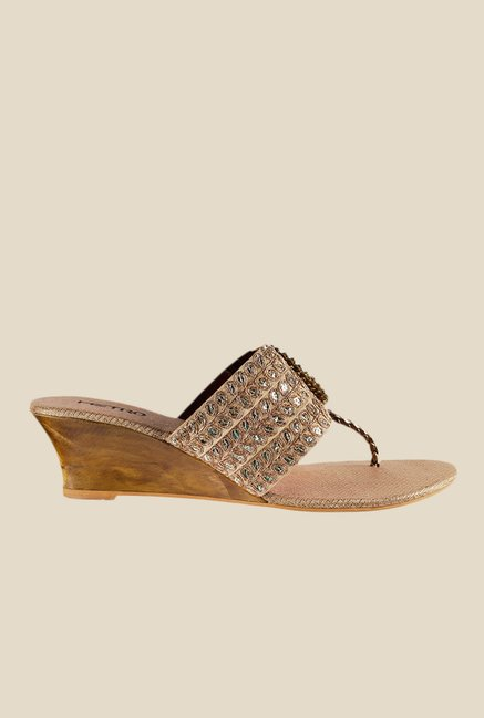 Metro Golden T-Strap Wedges