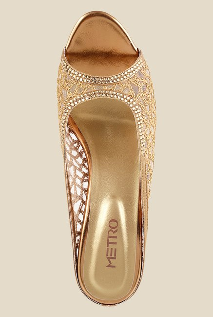 Metro Antique Gold Stiletto Heeled Sandals