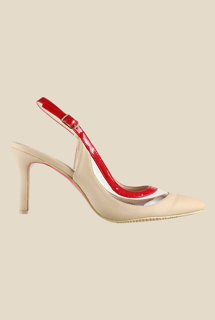 Metro Beige & Red Back Strap Stilettos
