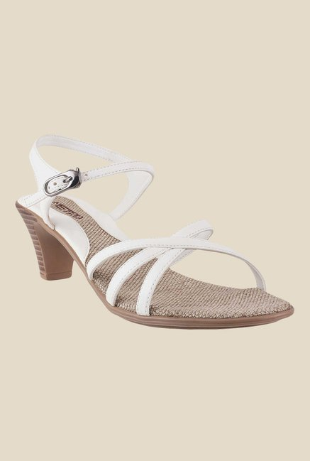 Metro White Ankle Strap Sandals