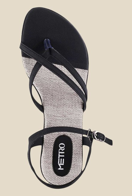 Metro Black Ankle Strap Sandals