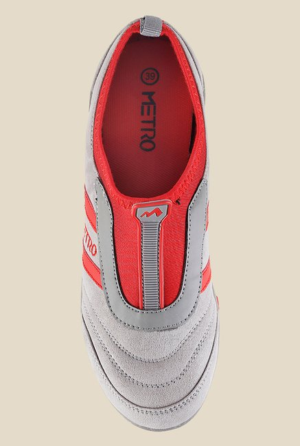 Metro Grey & Red Slip-On Sneakers