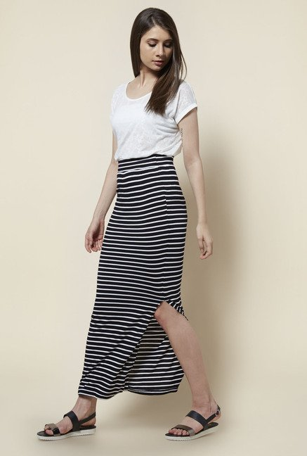 Zudio Black Striped Skirt