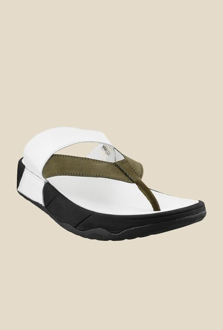 Metro White & Olive Thong Sandals