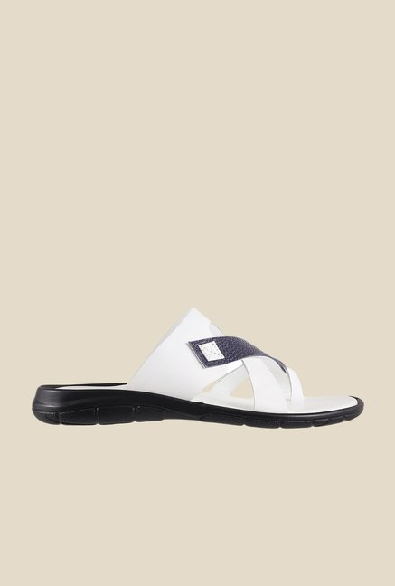Metro White & Navy Toe Ring Sandals