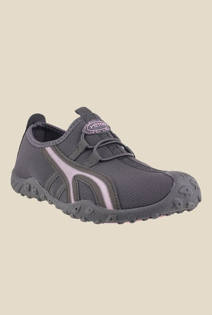 Metro Grey & Pink Slip-On Sneakers