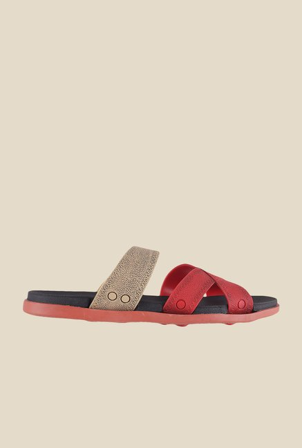 Gen X by Metro Red & Beige Cross Strap Sandals