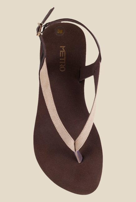 Metro Beige & Brown Back Strap Sandals