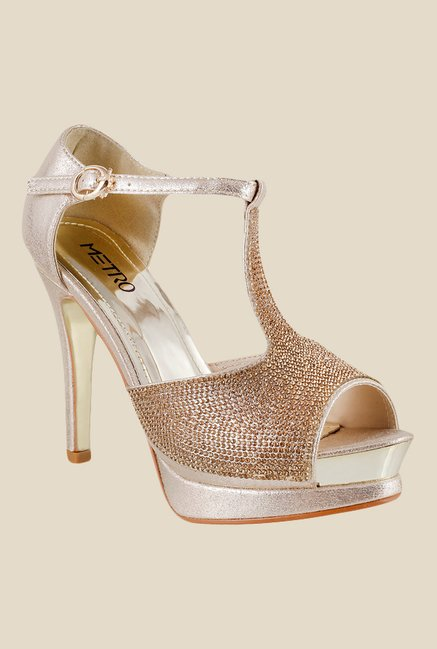 Metro Brown & Golden Ankle Strap Stilettos