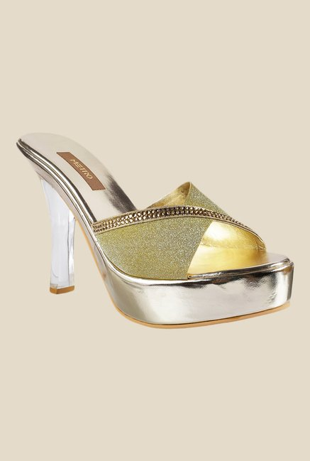 Metro Golden Stiletto Heeled Sandals