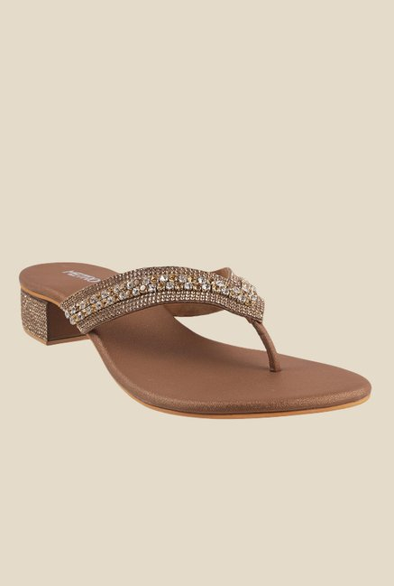 Metro Antique Gold Thong Sandals