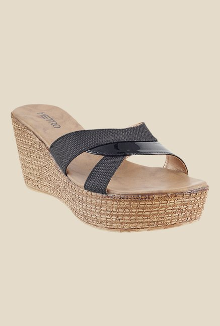 Metro Black Wedge Heeled Sandals