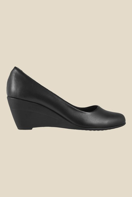 Metro Black Wedge Heeled Pumps