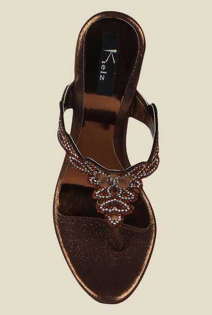 Kielz Copper T-Strap Stilettos