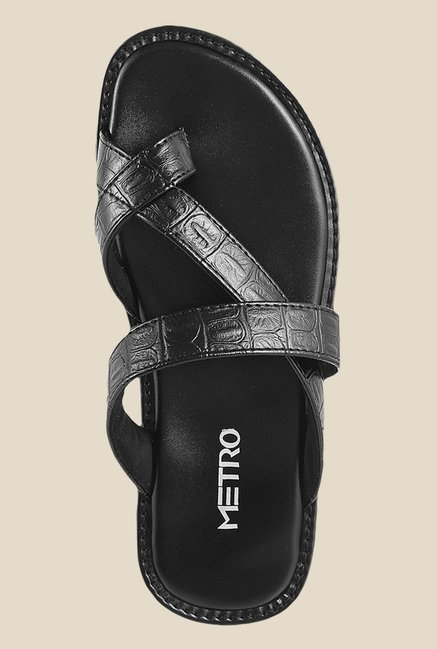 Metro Black Cross Strap Sandals