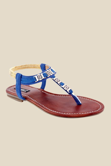 Kielz Blue & Golden Sling Back Sandals