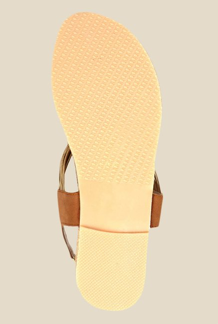 Kielz Beige & Golden Sling Back Sandals