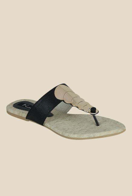 Kielz Black & Golden T-Strap Sandals