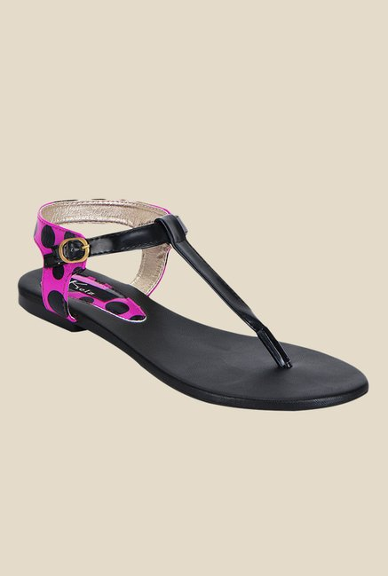 Kielz Purple & Black Ankle Strap Sandals