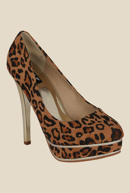 Kielz Brown & Black Stiletto Heeled Pumps