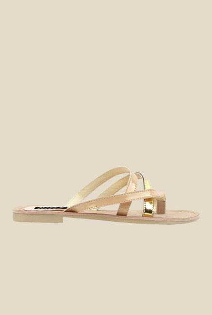 Kielz Beige & Golden Toe Ring Sandals