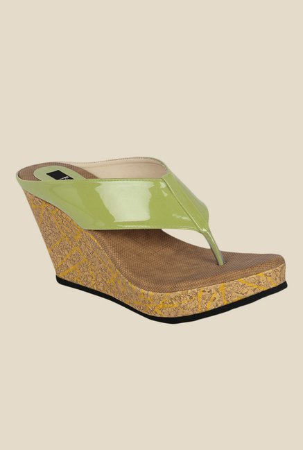 Kielz Green Wedge Heeled Thong Sandals