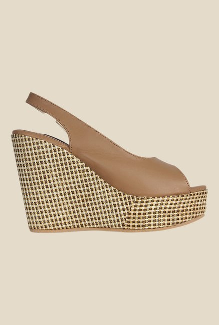 Kielz Beige Sling Back Wedges