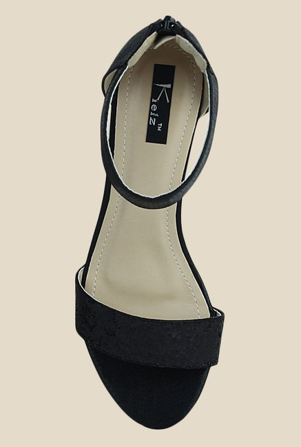 Kielz Black Wedge Heeled Sandals